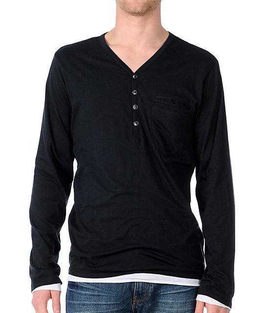 Analog Ludlow Black Double Layer Henley Shirt