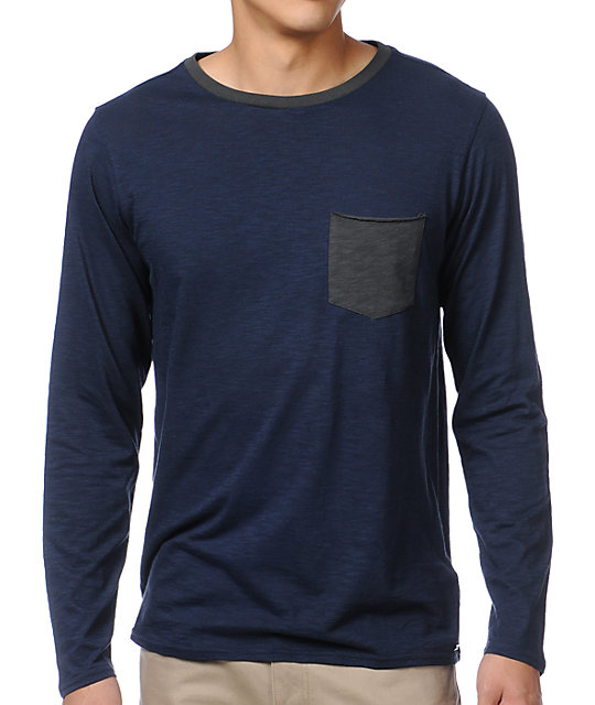 Analog Modus Navy Blue Long Sleeve T-Shirt