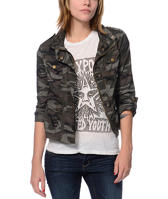 Angel Kiss Camo Print Military Jacket