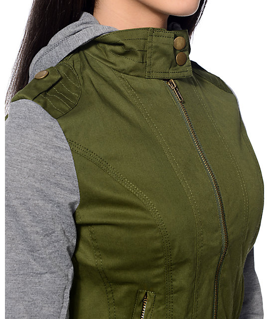 Angel Kiss Olive Canvas Jacket