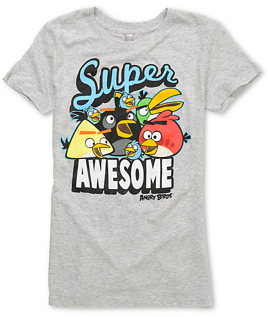 Angry Birds Awesomeness Grey T-Shirt