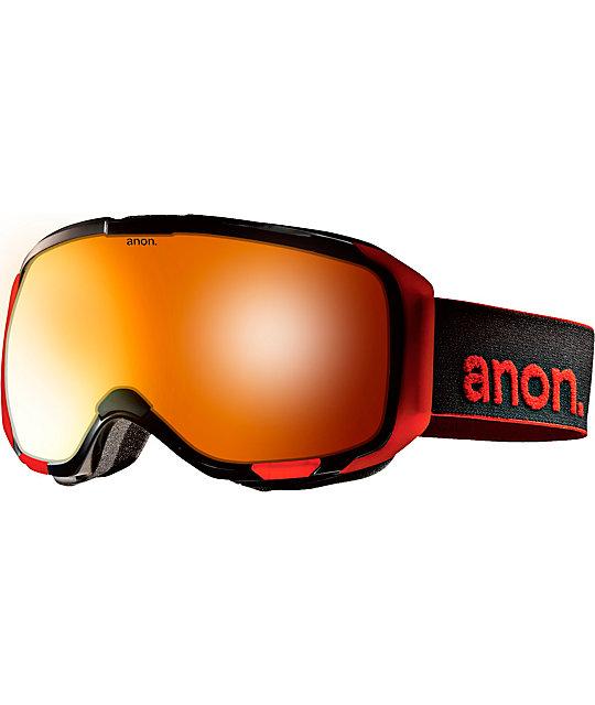 Anon M1 Black & Red Solex Snowboard Goggles