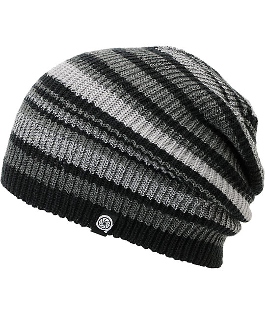 Aperture Alonzo Grey & Black Stripe Slouchy Beanie
