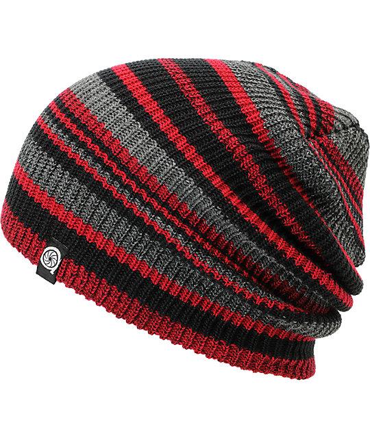 Aperture Alonzo Red & Black Stripe Slouchy Beanie