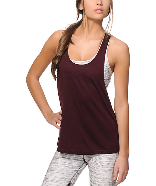 Aperture ambular spacey dye built in bra tank top for Shirts with built in sports bra
