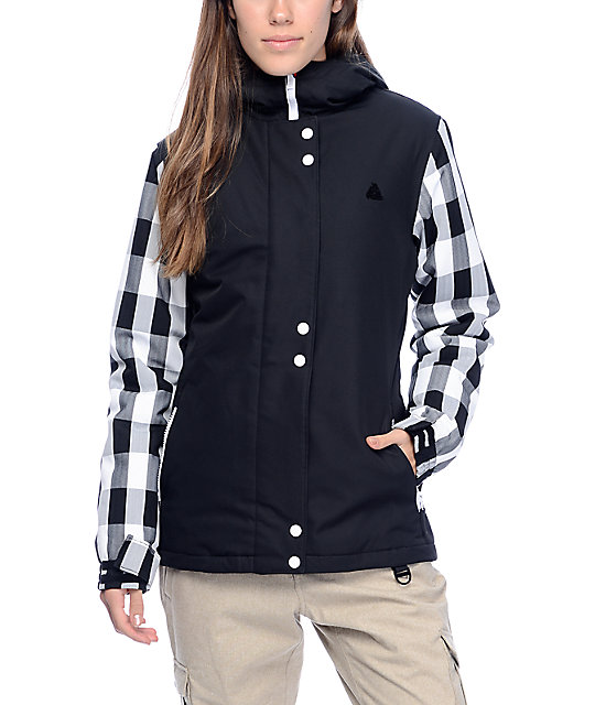 Aperture Cannon Black & White Plaid 10K Snowboard Jacket