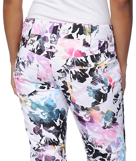 Aperture Girl Peak 2 Creek Floral White 10K Snowboard Pants