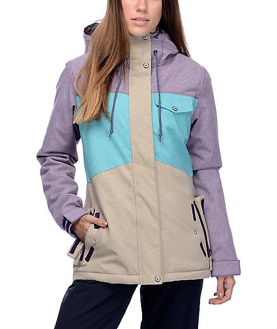 Aperture Heaven Blackberry, Teal & Khaki 10K Womens Snowboard Jacket