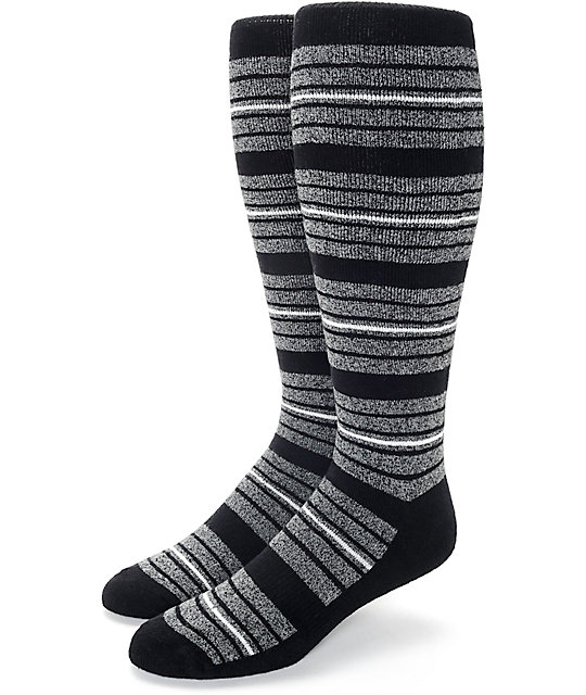 Aperture Highlight Black & Grey Striped Snowboard Socks