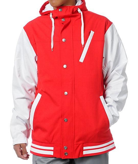 Aperture Humbolt 10K Red & White Varsity Snowboard Jacket