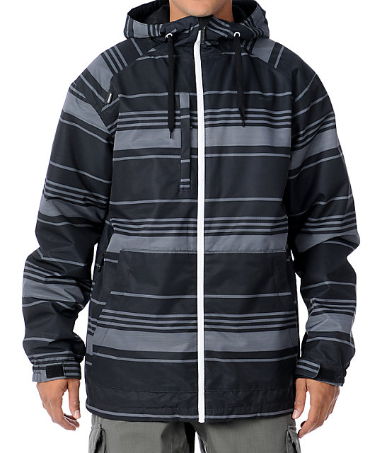 Aperture Lucas Black Stripe 10K Mens Snowboard Jacket