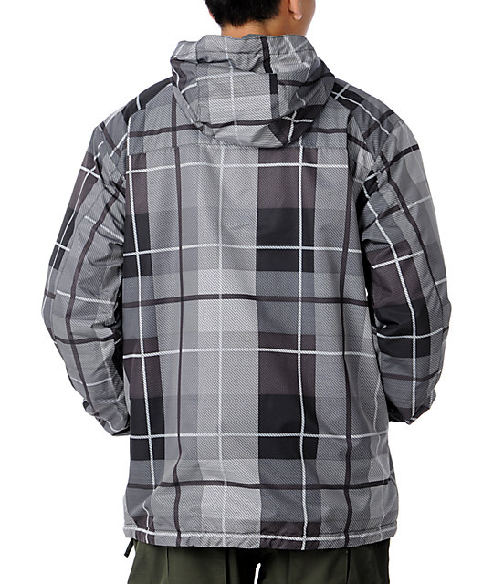 Aperture Lucas Grey 10K Plaid Mens Snowboard Jacket