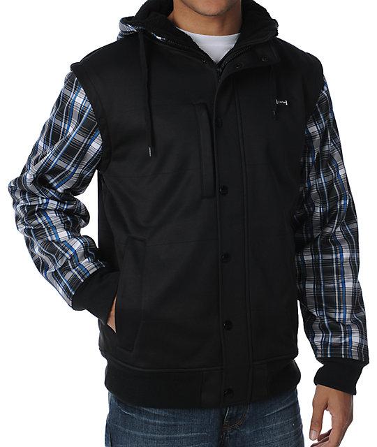 Aperture Octane Black & Plaid Tech Fleece Jacket
