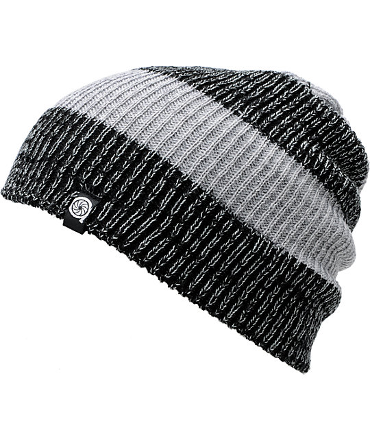 Aperture Punk Grey & Heather Stripe Grey Slouch Beanie