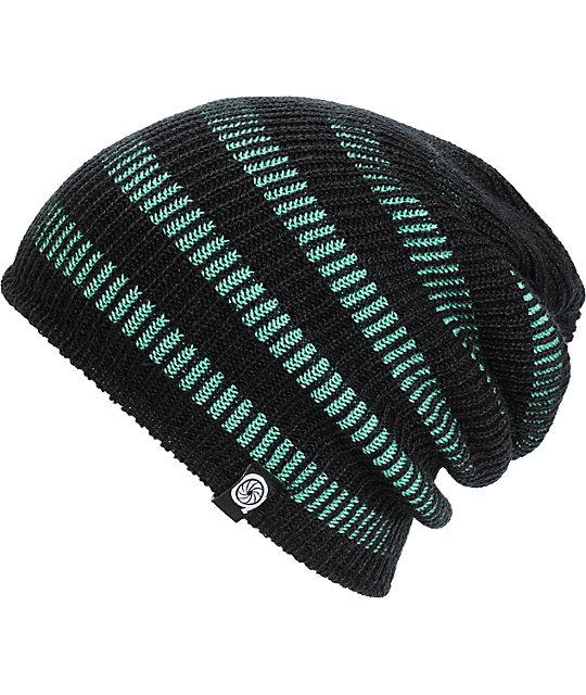 Aperture Street Black & Mint Stripe Beanie
