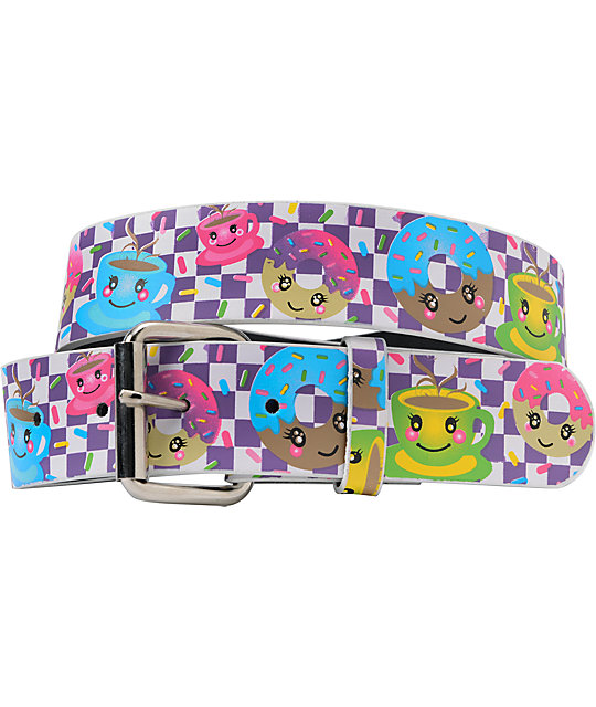 Aquarius Coffee Donuts Purple Checkerboard Graphic Print Belt