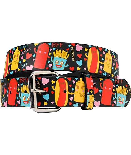 Aquarius Hot Dog & French Fries BFF Graphic Print Belt