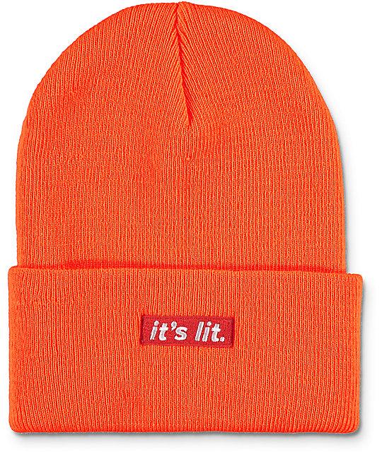 Artist Collective Its Lit Neon Orange Beanie