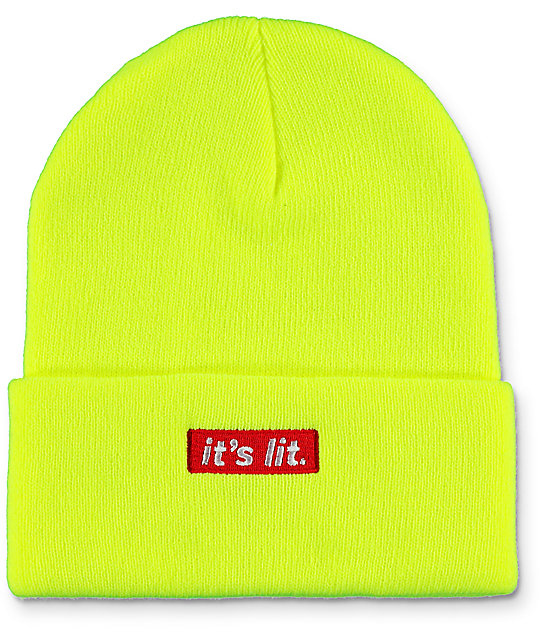 Artist Collective Its Lit Neon Yellow Beanie