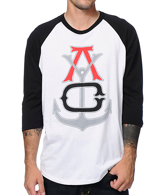 Asphalt Yacht Club Anchor Black & White Baseball T-Shirt