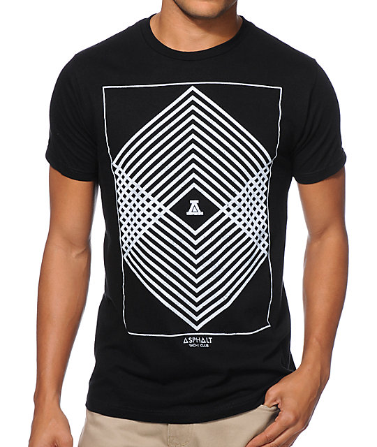Asphalt Yacht Club Geometric Color Black T-Shirt