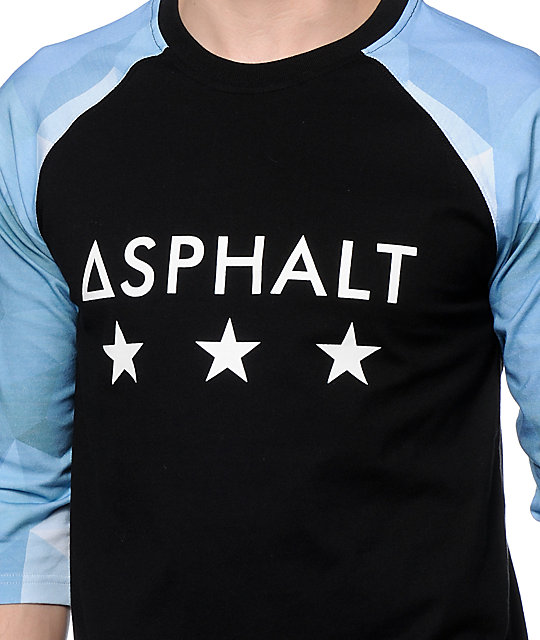 Asphalt Yacht Club Ice Black Baseball T-Shirt