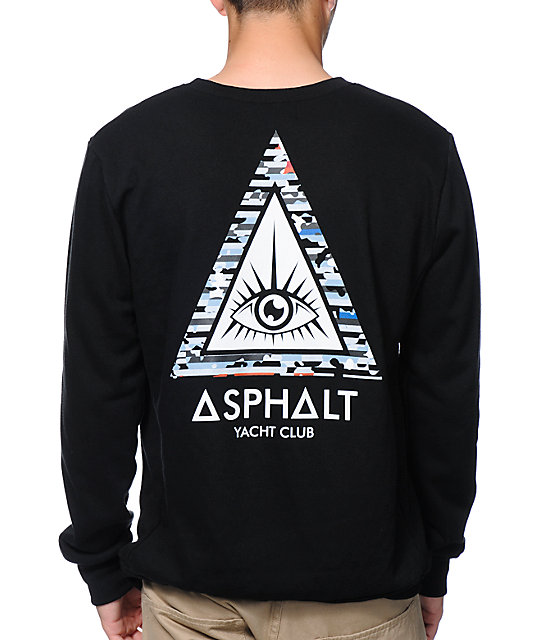 Asphalt Yacht Club Triangle Eye Black Crew Neck Sweatshirt