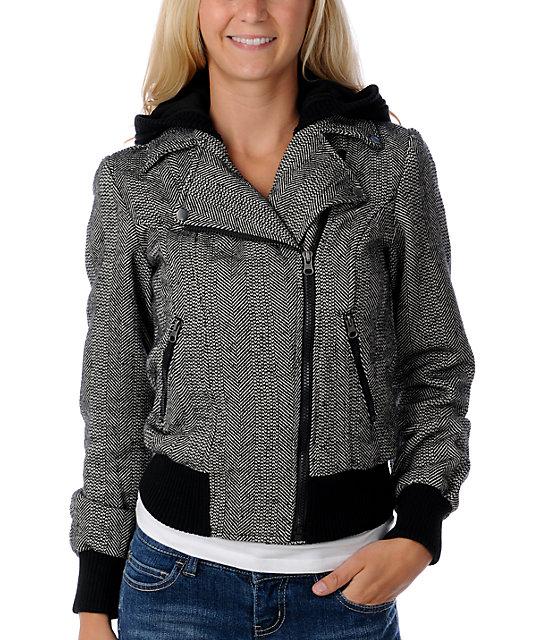 BB Dakota Pamela Herringbone Moto Jacket