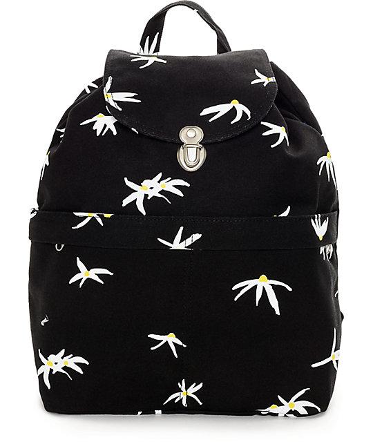Baggu Black Daisy Canvas Backpack