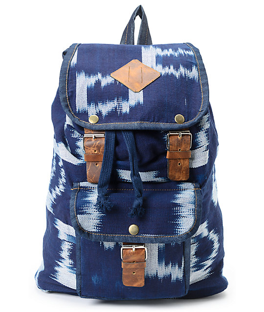 Baja Bags Indigo Woven Dark Blue Rucksack Backpack