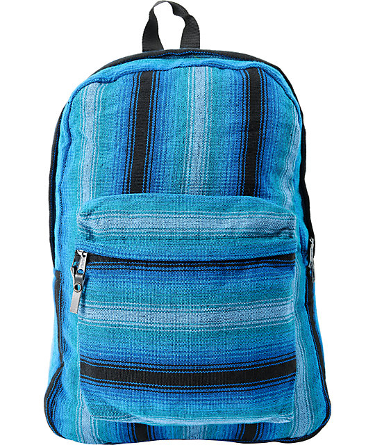 Baja Bags Neon Blue Stripe Woven Backpack