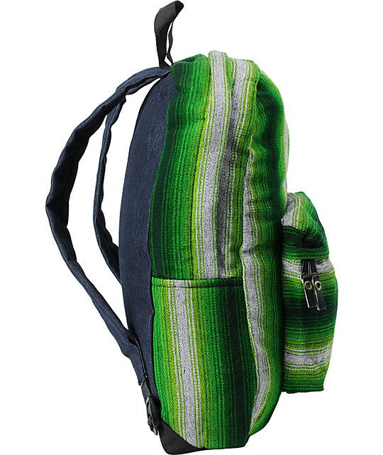 Baja Bags Neon Green Stripe Woven Backpack