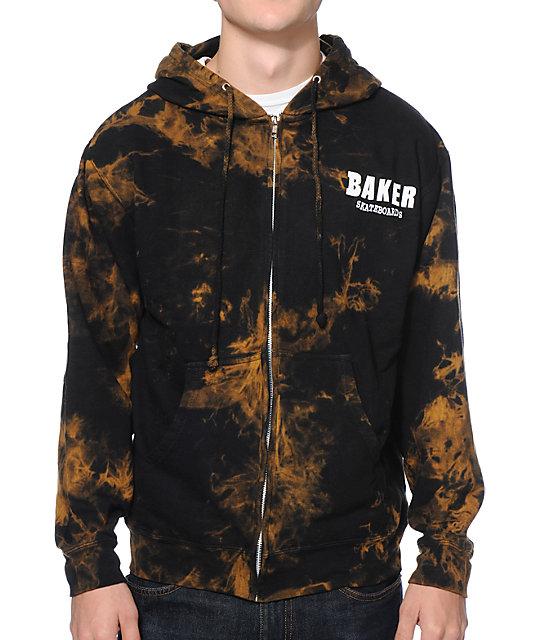 Baker Brand Logo Black & Tan Tie Dye Zip Up Hoodie