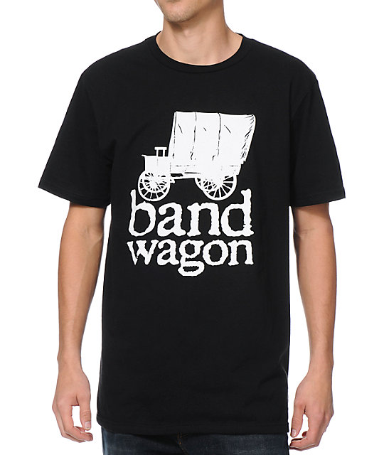Bandwagon Sticker Black T-Shirt