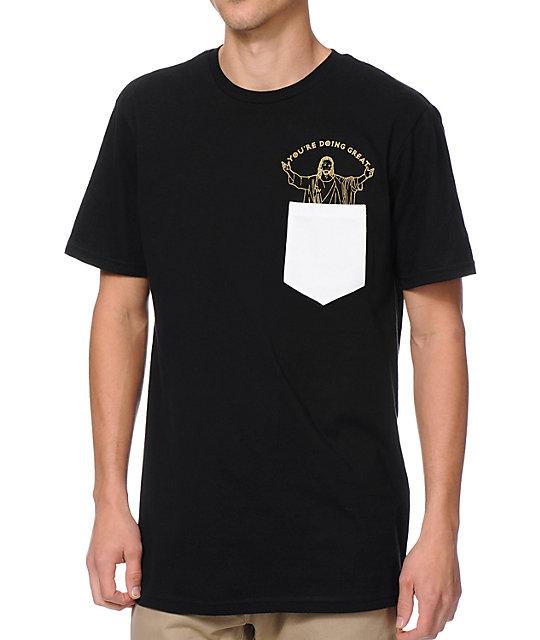Bandwagon Youre Doing Great Black Pocket T-Shirt