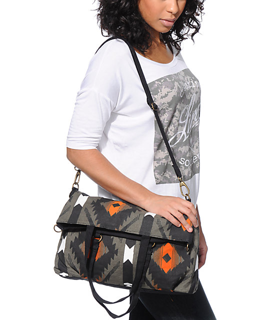 Barganza Black Tribal Print Canvas Tote Bag