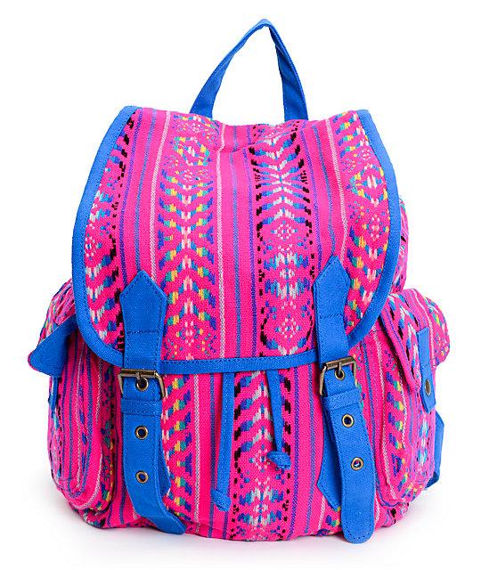 Pink & Blue Tribal Print Rucksack Backpack