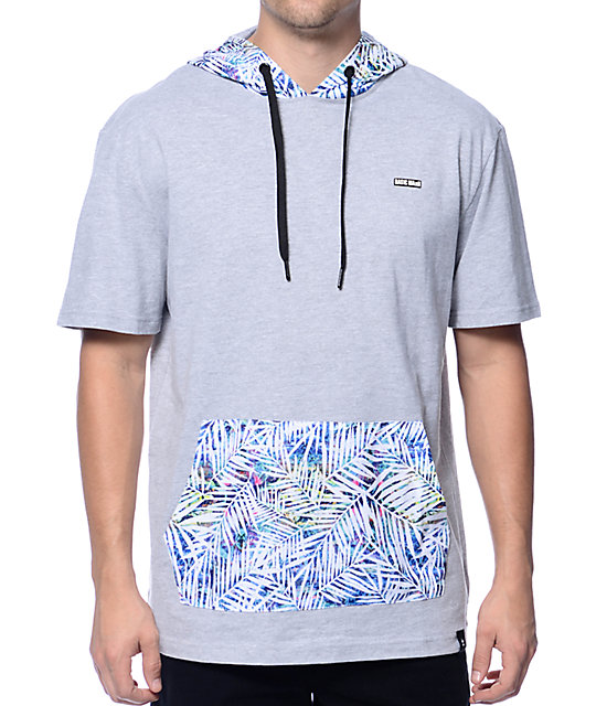 Basic Math Palm Floral Grey Short Sleeve Hoodie at Zumiez : PDP