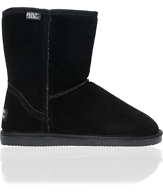 Beach Feet Girls Low Slip-On Black Boots