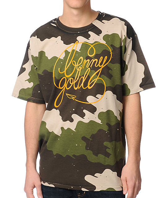 Benny Gold Fog Camo Green & Orange T-Shirt