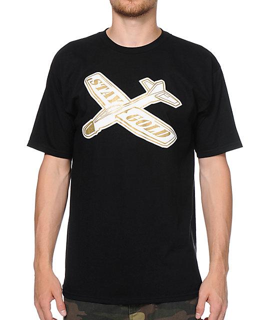 Benny Gold Glider Plane Black T-Shirt