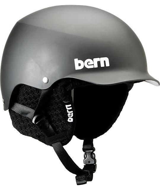 Bern Baker Hard Hat Matte Black Visor Snowboard Helmet