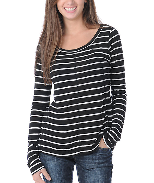 Billabong After Dark Long Sleeve Black & White Stripe Shirt