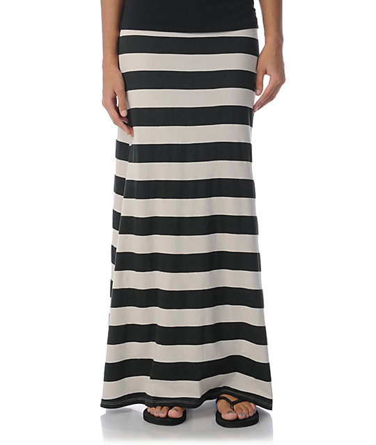 Billabong Anina Black Stripe Maxi Skirt