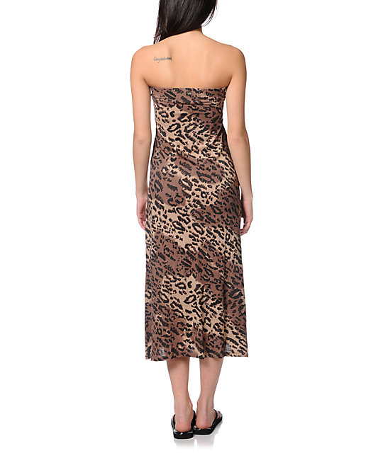 Billabong Anina Cheetah Print Maxi Skirt