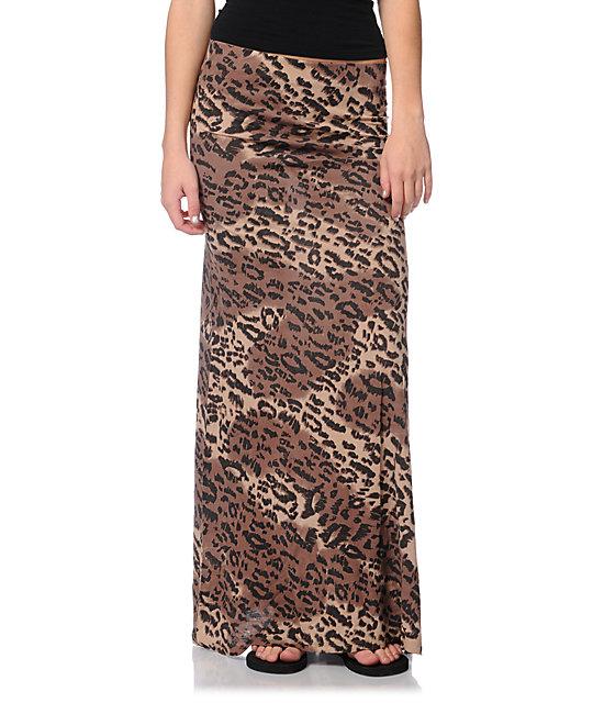 Billabong Anina Cheetah Print Maxi Skirt