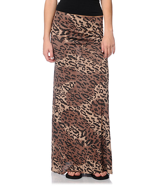 billabong anina cheetah print maxi skirt at zumiez pdp