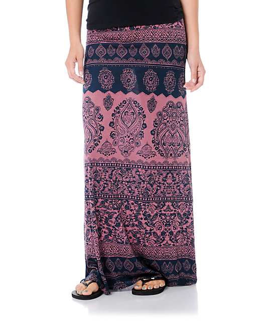 Billabong Anina Crushed Berry Red Maxi Skirt