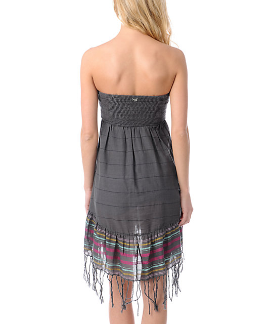 Billabong Away We Go Charcoal Strapless Dress