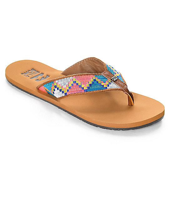 Billabong Baja Tan & Neon Woven Sandals